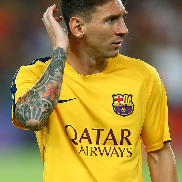 The colorful tattoo of Lionel Messi is pictured ahead of the Joan Gamper Trophy, FC Barcelona vs AS Roma, at Camp Nou Stadium, in Barcelona, Spain, on August 5, 2015. Photo: Manuel Blondeau/AOP.Press/Corbis (Photo by AOP.Press/Corbis via Getty Images)