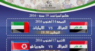 جدول مباريات المنتخب العراقي في كأس اسيا تحت 19 سنة