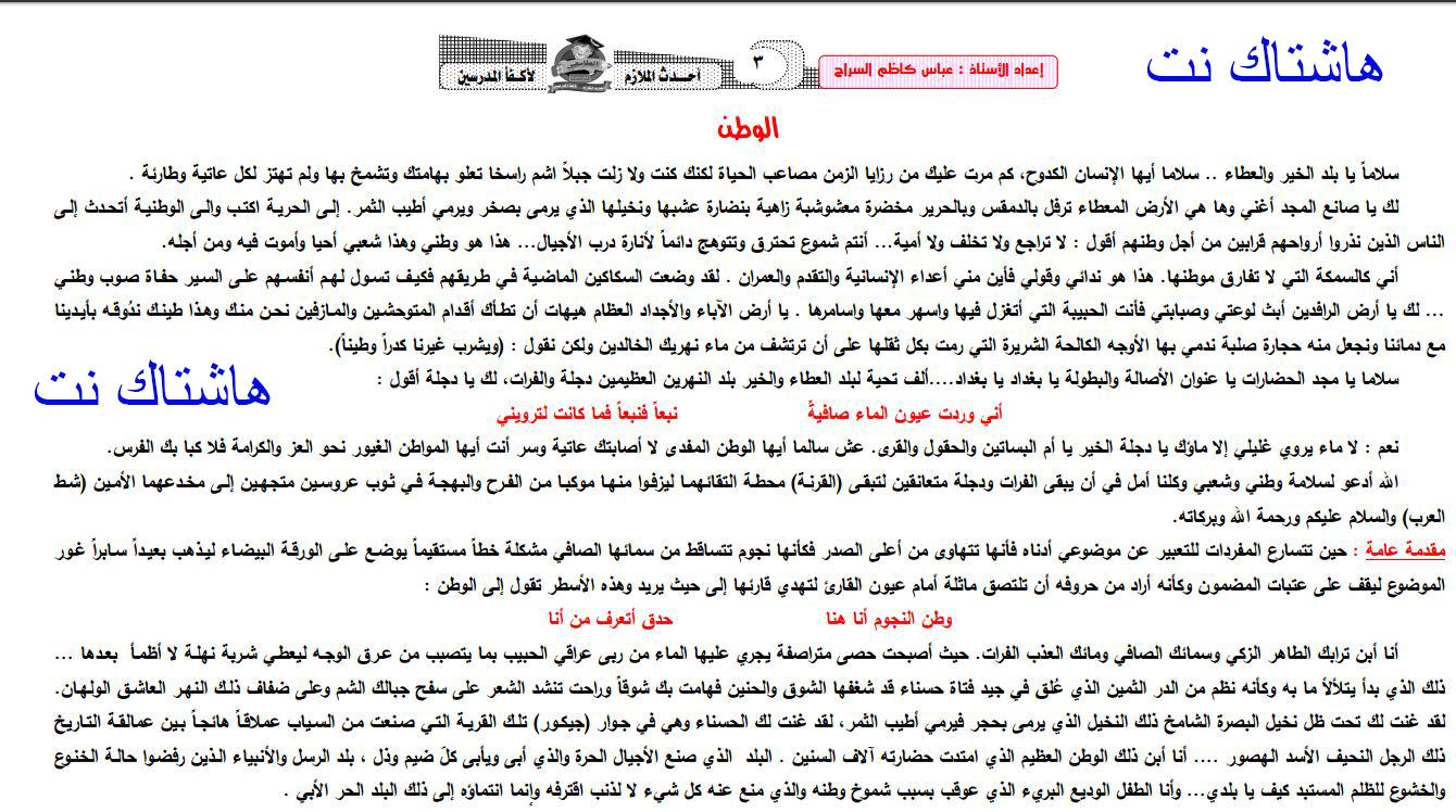 رد: تاسع سوريا - مواضيع اللغة الانكليزية - الثالث الاعدادي الاساسي