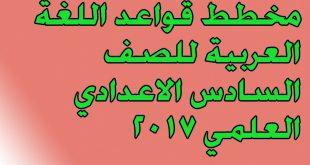 مخطط قواعد اللغة العربية للصف السادس الاعدادي العلمي 2017