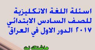 اسئلة اللغة الانكليزية للصف السادس الابتدائي 2017 في العراق الدور الاول