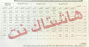 جدول امتحانات النهائية للصف السادس الاعدادي الدور الاول 2019