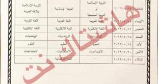 جدول امتحانات النهائية للصف السادس الابتدائي الدور الاول 2019