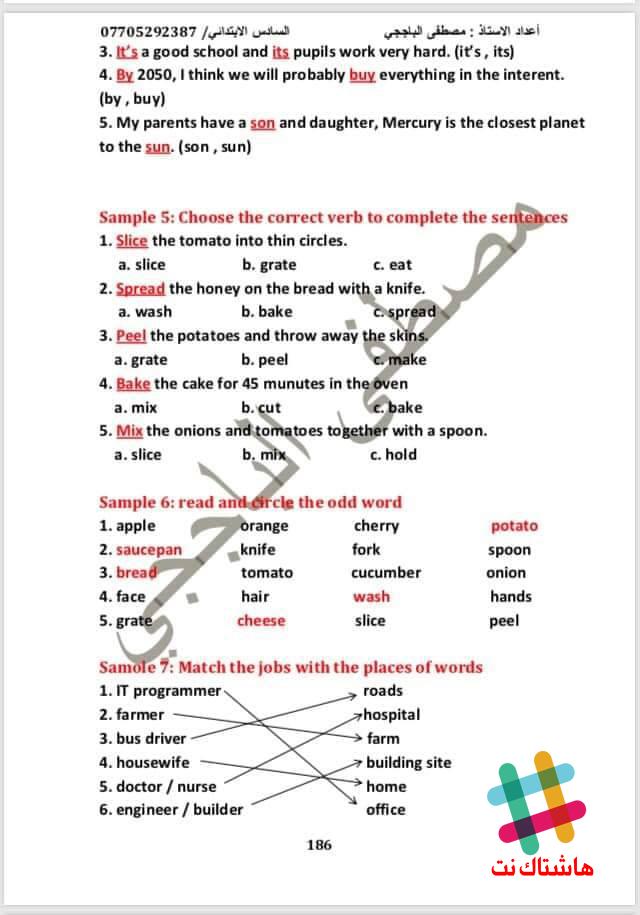 نماذج ورقة اسئلة الوزارية للسادس الابتدائي اللغة الانكليزية 2019 المنهج الجديد  4-3