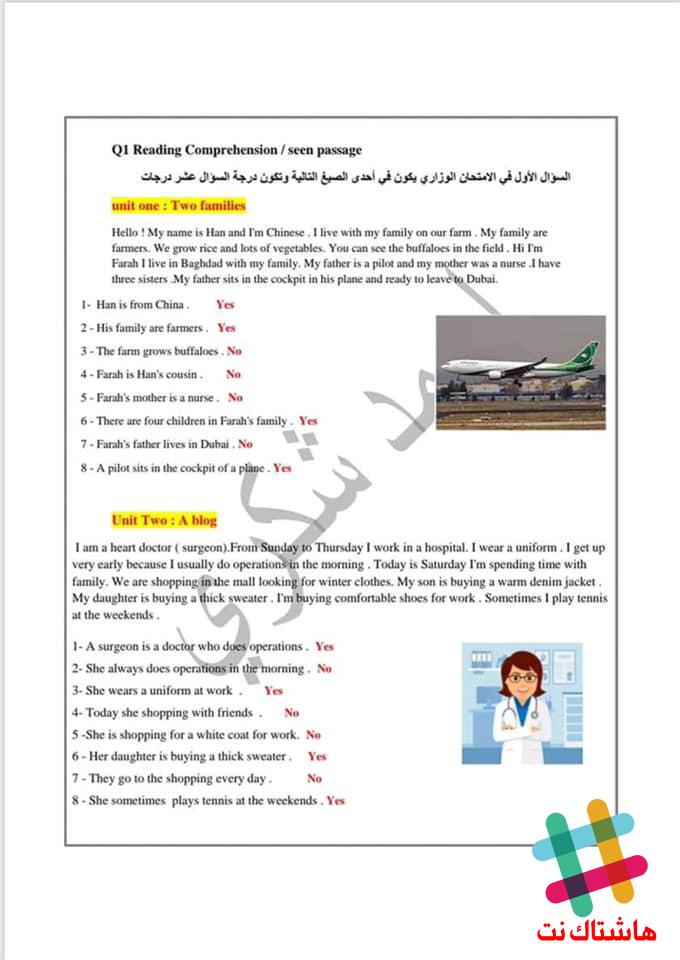 مرشحات مادة اللغة الانكليزية متنوعة للصف السادس الابتدائي 2019  1-10