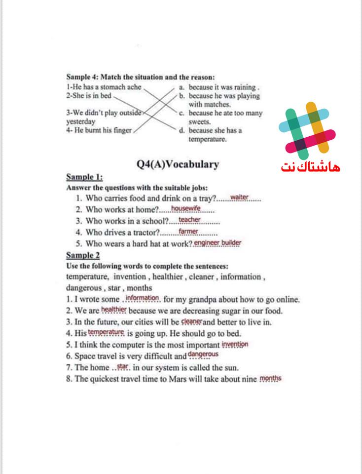 مرشحات مادة اللغة الانكليزية متنوعة للصف السادس الابتدائي 2019  12-3