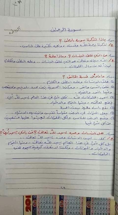 ملخص الاسلامية كامل للصف السادس الابتدائي 2019 20