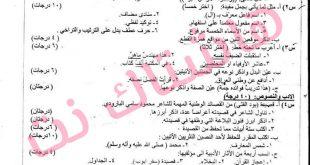 مجموعة من اسئلة الوزارية لمادة اللغة العربية السادس المهني