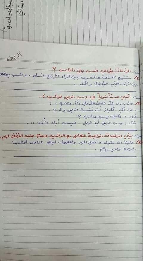 ملخص الاسلامية كامل للصف السادس الابتدائي 2019 25