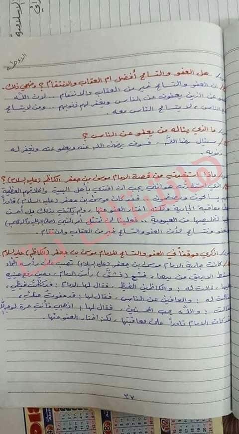ملخص الاسلامية كامل للصف السادس الابتدائي 2019 27