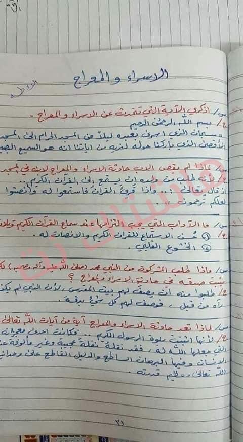ملخص الاسلامية كامل للصف السادس الابتدائي 2019 28