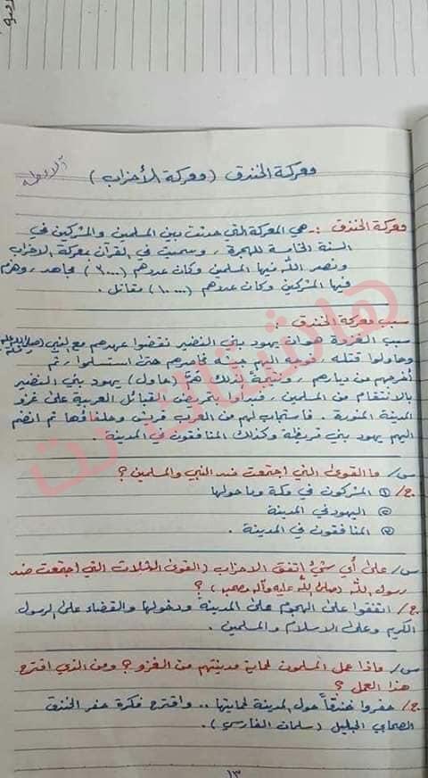 ملخص الاسلامية كامل للصف السادس الابتدائي 2019 5-4