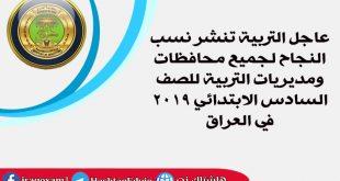 عاجل التربية تنشر نسب النجاح لجميع محافظات ومديريات التربية للصف السادس الابتدائي 2019 في العراق