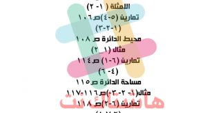 مرشحات الرياضيات السادس الابتدائي امتحان التمهيدي 2020