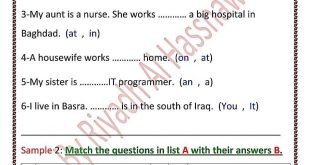 نماذج الاسئلة المهمة وزاريا الانكليزي للصف السادس الابتدائي 2020