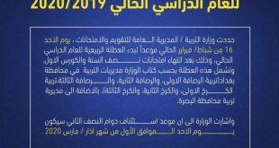 التربية تحدد موعد العطلة الربيعية للعام الدراسي الحالي 2019-2020
