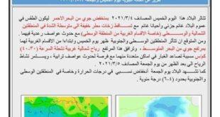 الأنواء الجوية البلاد ستتأثر بالمنخفض الجوي القادم من البحر الأحمر