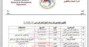 التعليم العالي تُحدد موعداً لبدء العام الدراسي الجديد لطلبة الدراسات العليا لسنة ٢٠٢١/٢٠٢٢