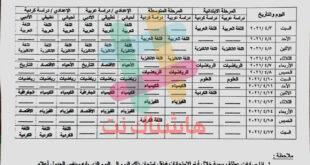 جدول امتحانات التمهيدي الجديد للصفوف المنتهية 2021