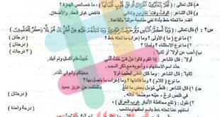 اسئلة التمهيدي السادس الادبي مادة اللغة العربية 2021