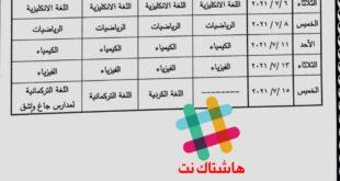 جدول امتحانات النهائية الصف الثالث المتوسط الدور الاول 2021