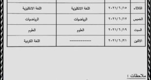 جدول امتحانات النهائية الصف السادس الابتدائي الدور الاول 2021