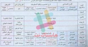 جدول الامتحانات النهائية الفرع المهني 2021
