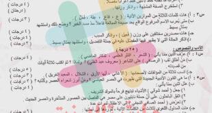 اسئلة مادة اللغة العربية للصف الثالث متوسط مدارس خارج العراق 2021
